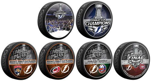 2021 Tampa Bay Lightning NHL Stanley Cup Champions Inglasco (6) Six Souvenir Puck Set