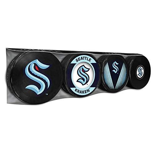 Inglasco Seattle Kraken Souvenir Hockey Puck Souvenir Collectors 4-Pack (Basic, Retro, Autograph, Stitch)