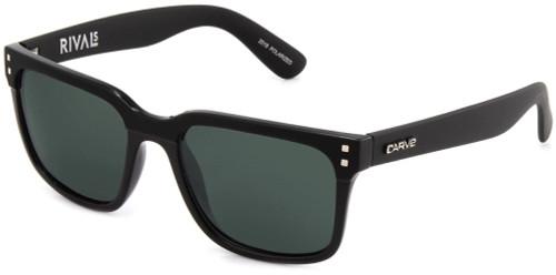 Carve Rivals Sunglasses - Gloss Matte Black Frame / Green Lens - Polarized