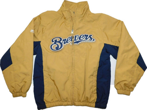 Milwaukee Brewers Gold Men's BIG & TALL MLB Authentic On-Field Thermal Full-Zip Jacket