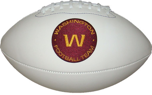 Washington Football Team Logo Full Size Official NFL Autograph Signature Series White Panel Football by Wilson