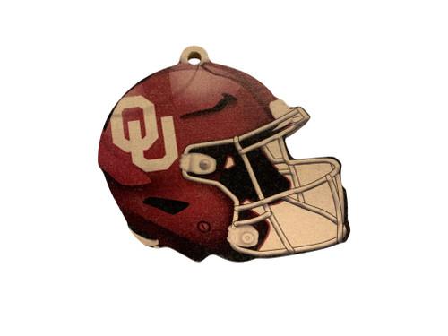 Oklahoma Sooners Wood Football Helmet Christmas Tree Ornament