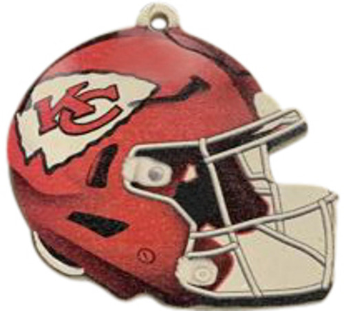 Kansas City Chiefs NFL Wood Football Helmet Christmas Tree Ornament
