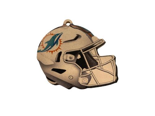 Miami Dolphins NFL Wood Football Helmet Christmas Tree Ornament