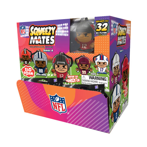 SqueezyMates NFL Gravity Feed Figurines Mystery Box (24 packs) SERIES 4 Box
