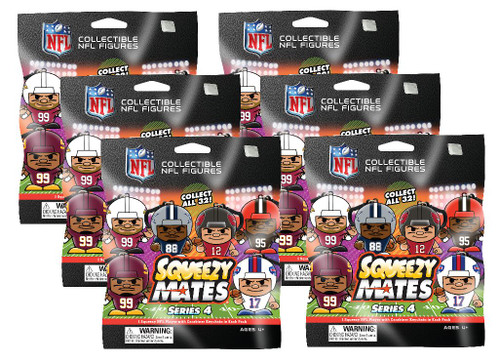 SqueezyMates NFL Gravity Feed Figurines Mystery Pack - 6 packs - SERIES 4
