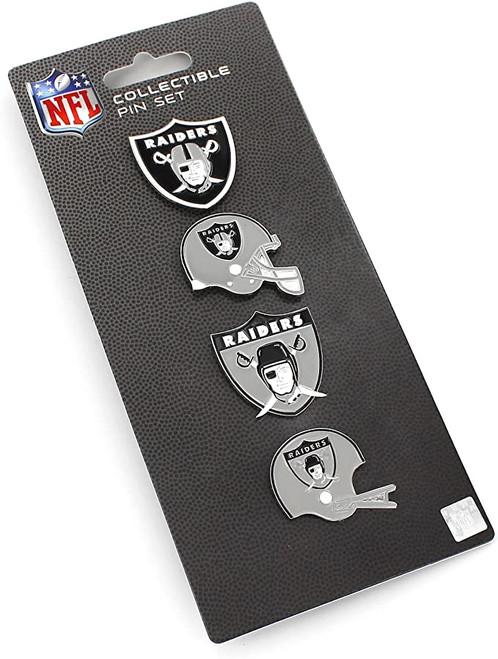 Las Vegas Raiders Logo NFL Football Evolution 4 Piece Lapel Pin Set
