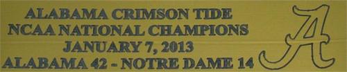 Alabama Crimson Tide 2013 BCS Bowl Nationals Champions Full Size Football Helmet Display Case