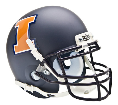 Illinois Fighting Illini Alternate Navy Matte Schutt Mini Authentic Helmet