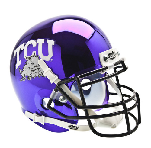 TCU Texas Christian Horned Frogs Alternate Purple Chrome Schutt Mini Authentic Helmet