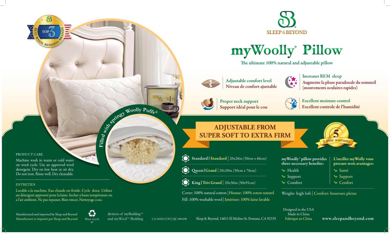 Sleep & Beyond myWoolly Pillow Label