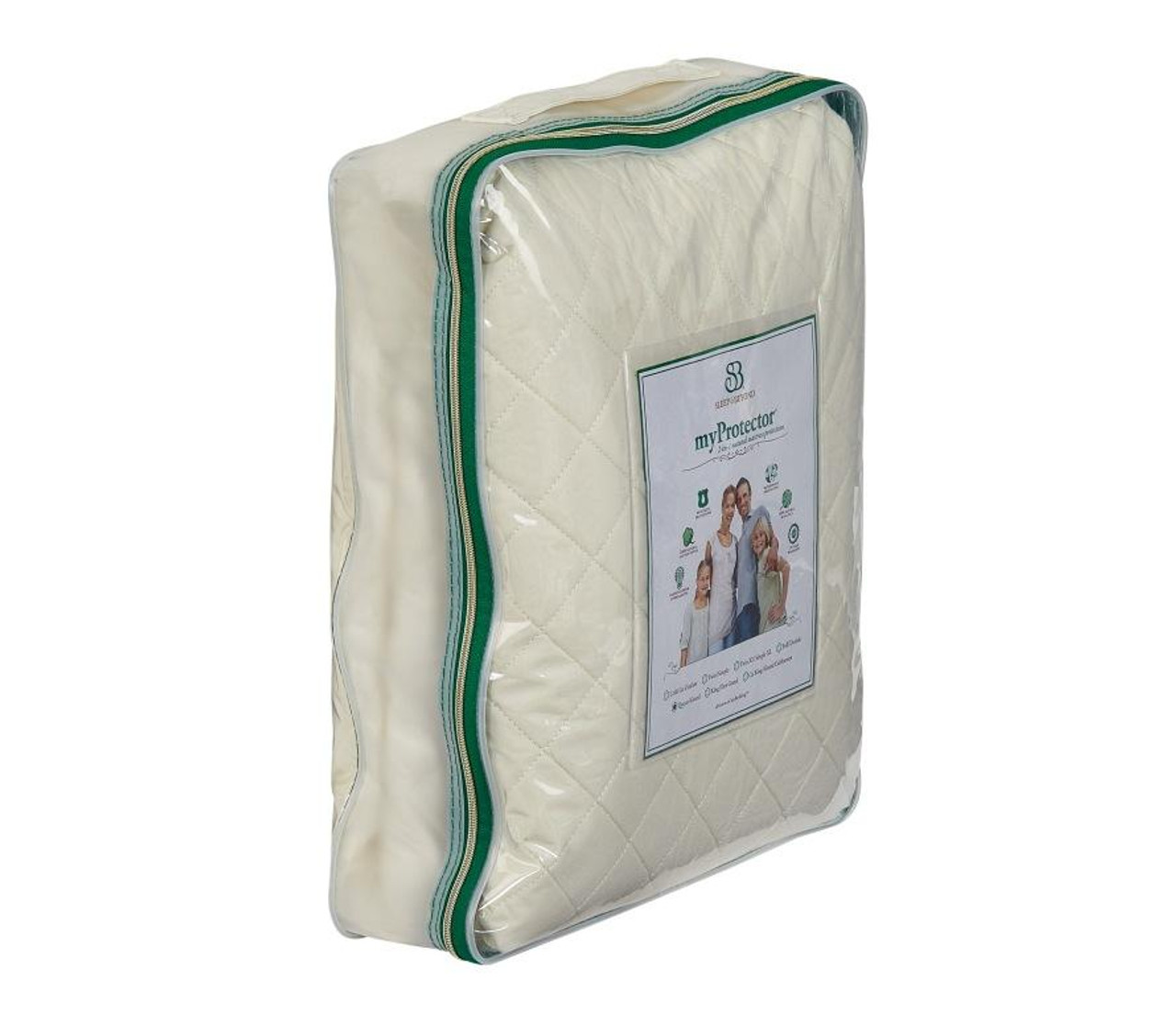 Sleep & Beyond myProtector™, 2-in-1 ultimate, washable, natural mattress protector side package