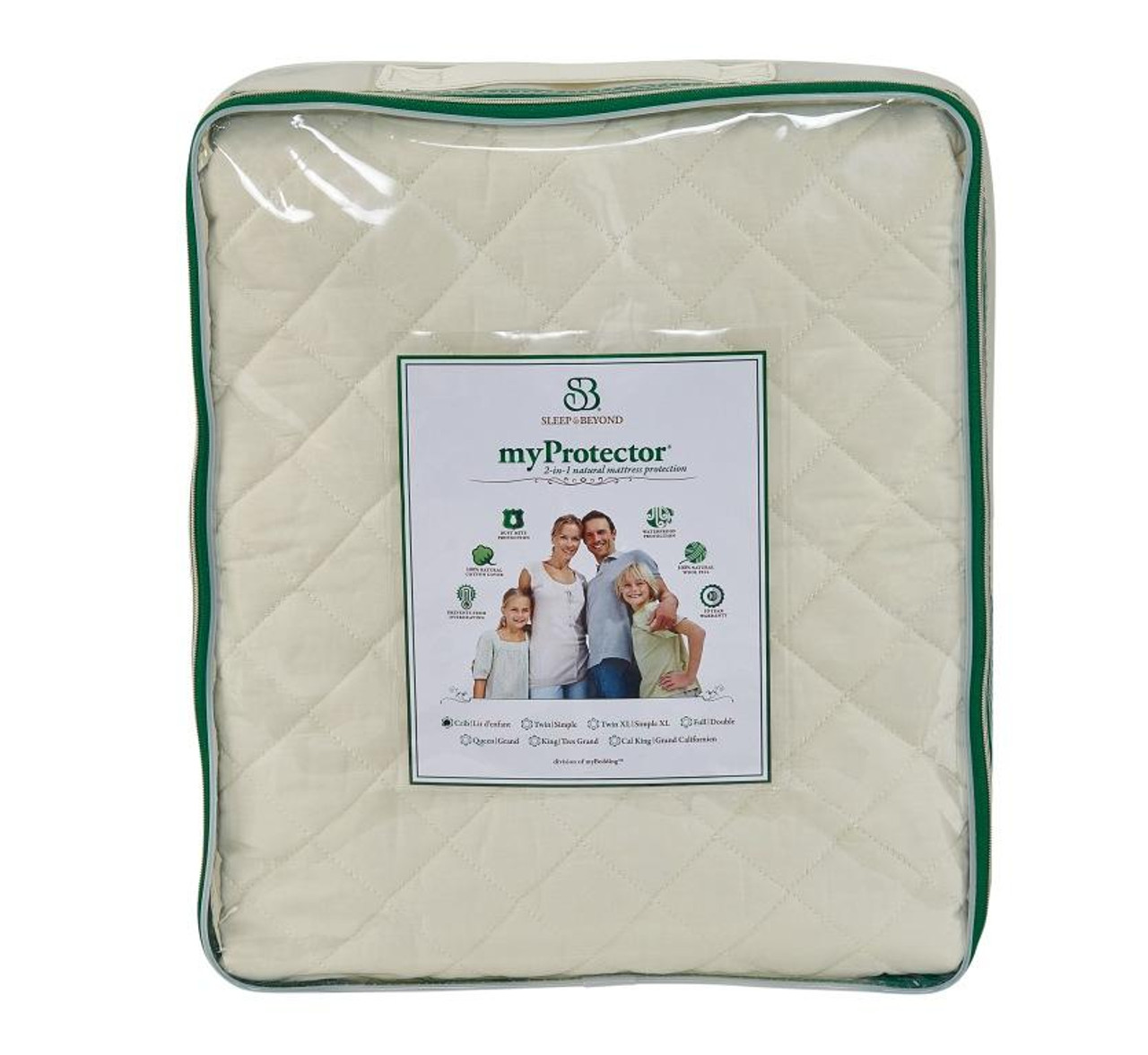 Sleep & Beyond myProtector™, 2-in-1 ultimate, washable, natural mattress protector front package