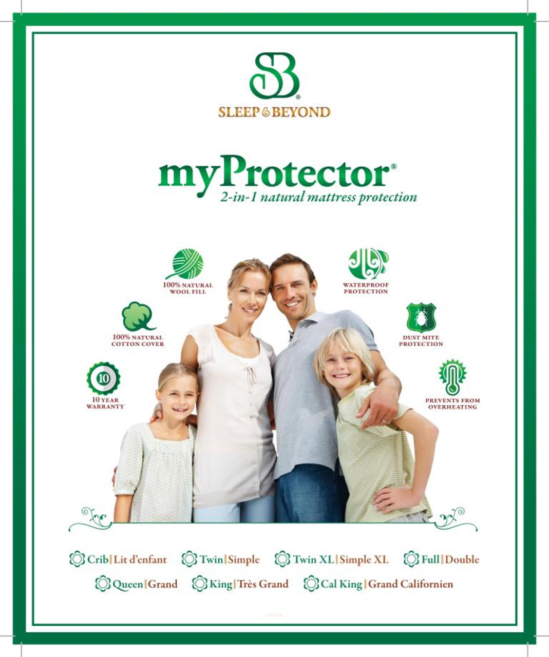 Sleep & Beyond myProtector™, 2-in-1 ultimate, washable, natural mattress protector closeup package