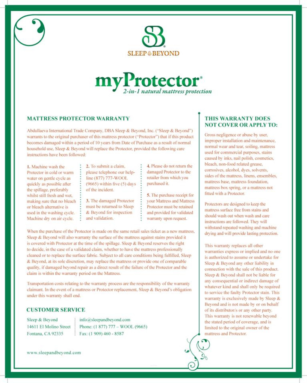 Sleep & Beyond myProtector™, 2-in-1 ultimate, washable, natural mattress protector back package