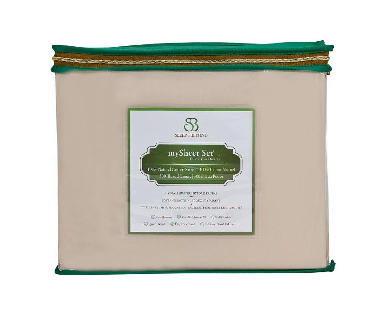 Sleep & Beyond mySheet Set 100% Natural Cotton Sheet Set, natural cotton bed sheets front package