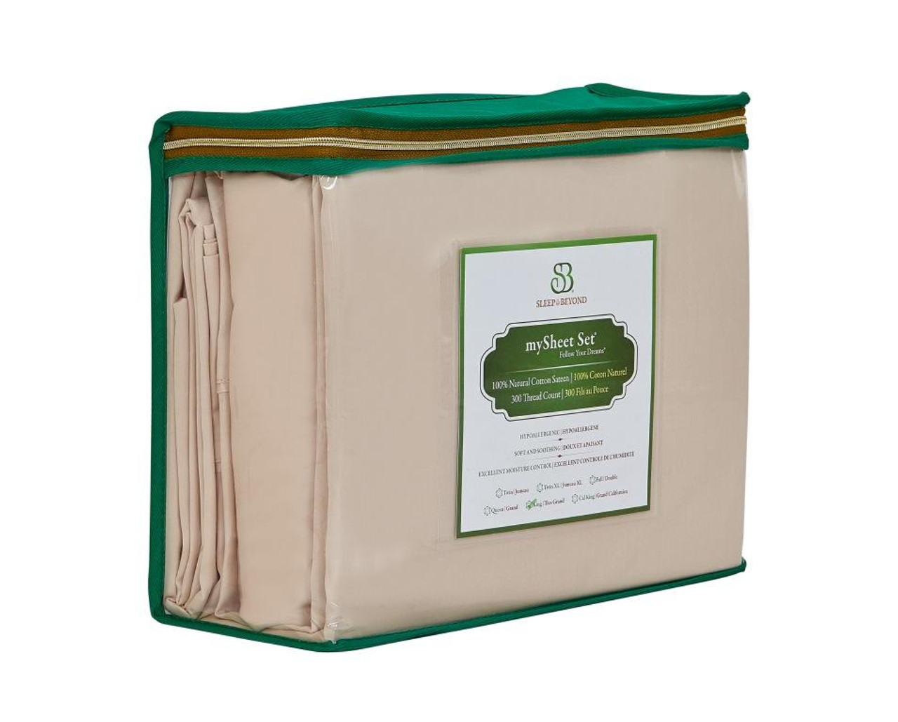 Sleep & Beyond mySheet Set 100% Natural Cotton Sheet Set, natural cotton bed sheets front package 2