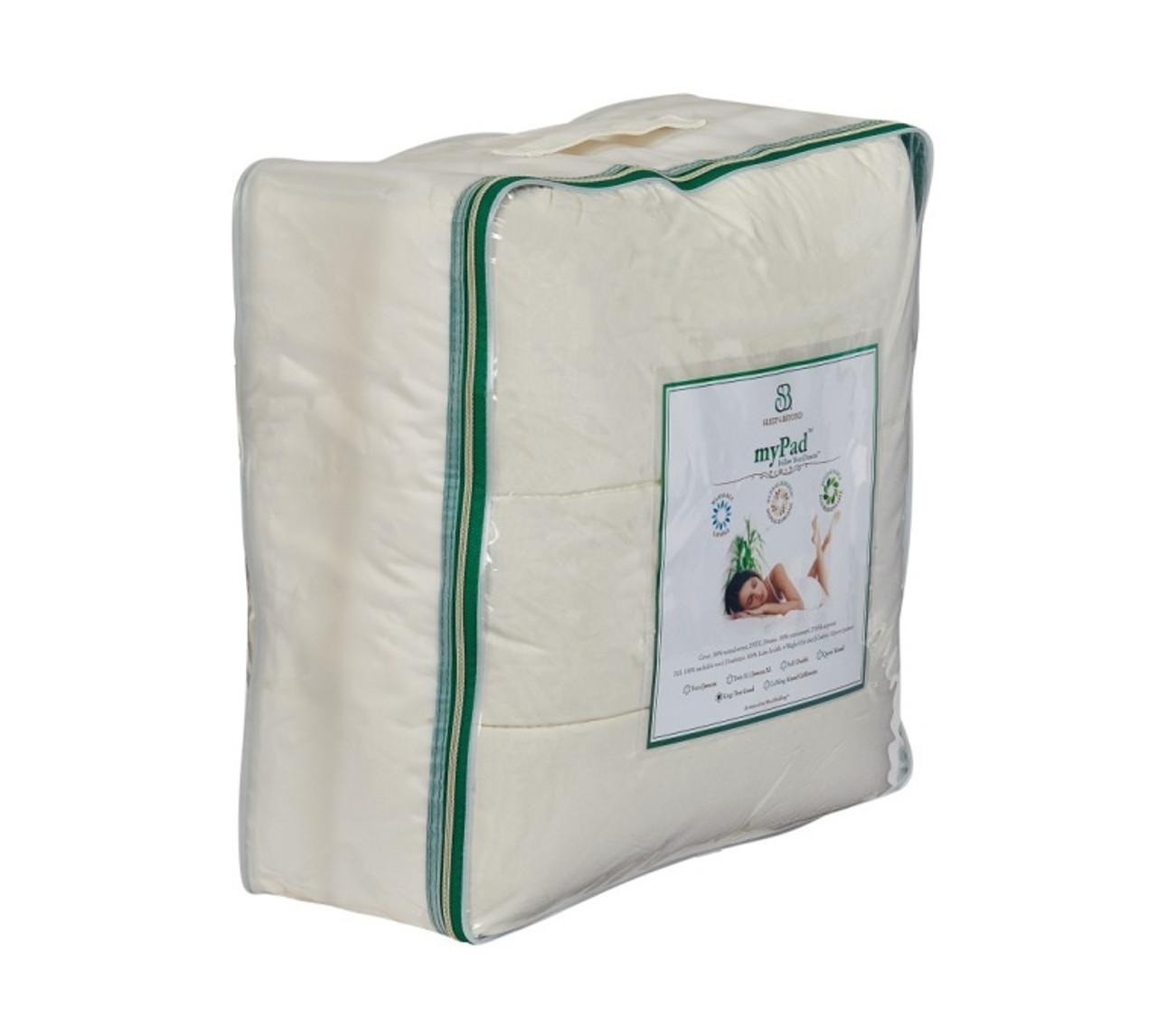 Sleep & Beyond myPad 100% Washable Wool Mattress Pad Side Package
