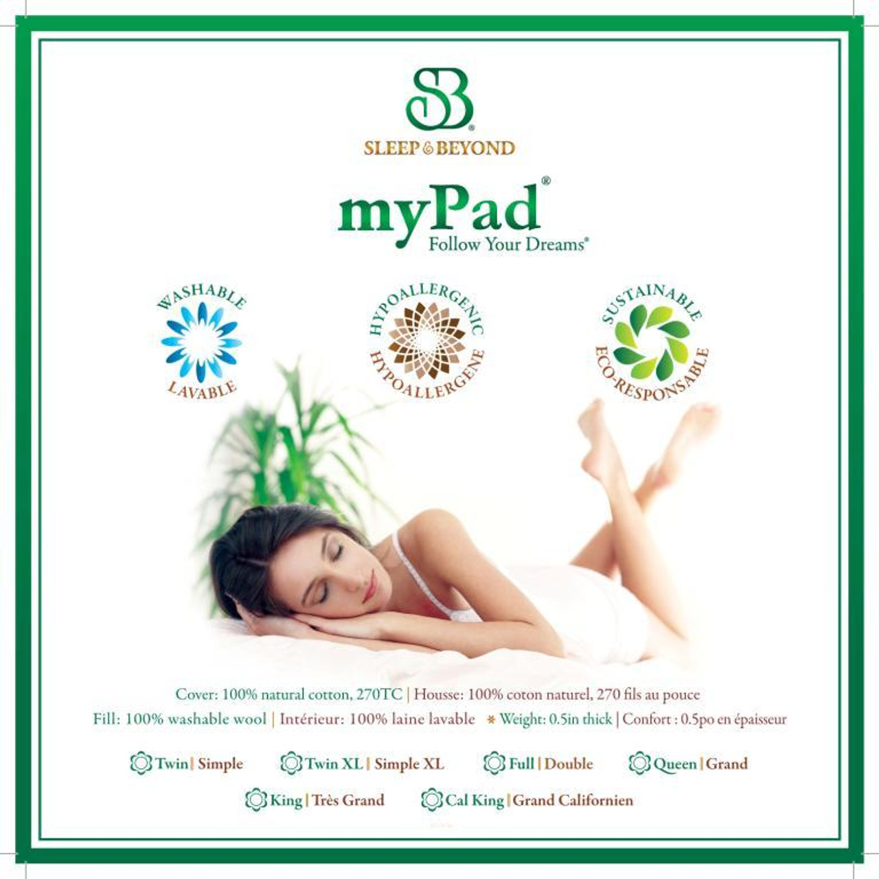 Sleep & Beyond myPad 100% Washable Wool Mattress Pad Front Package