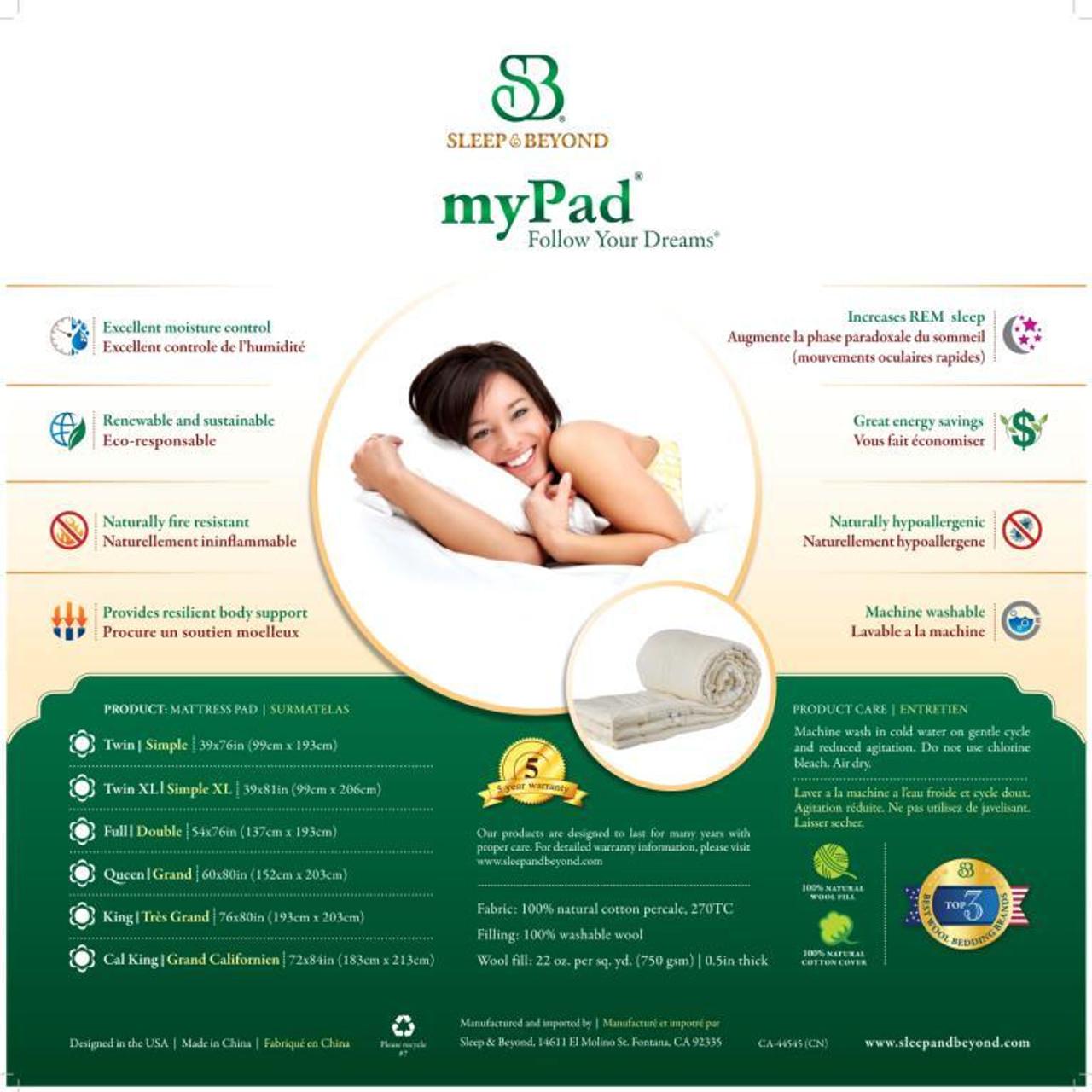 Sleep & Beyond myPad 100% Washable Wool Mattress Pad Back Package