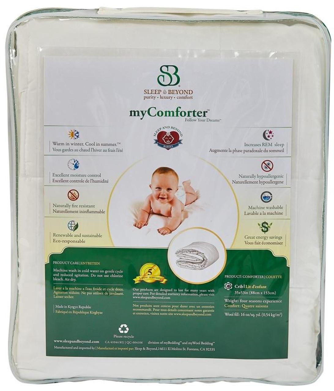 Sleep & Beyond myComforter™ 100% Washable Wool Comforter Back Package