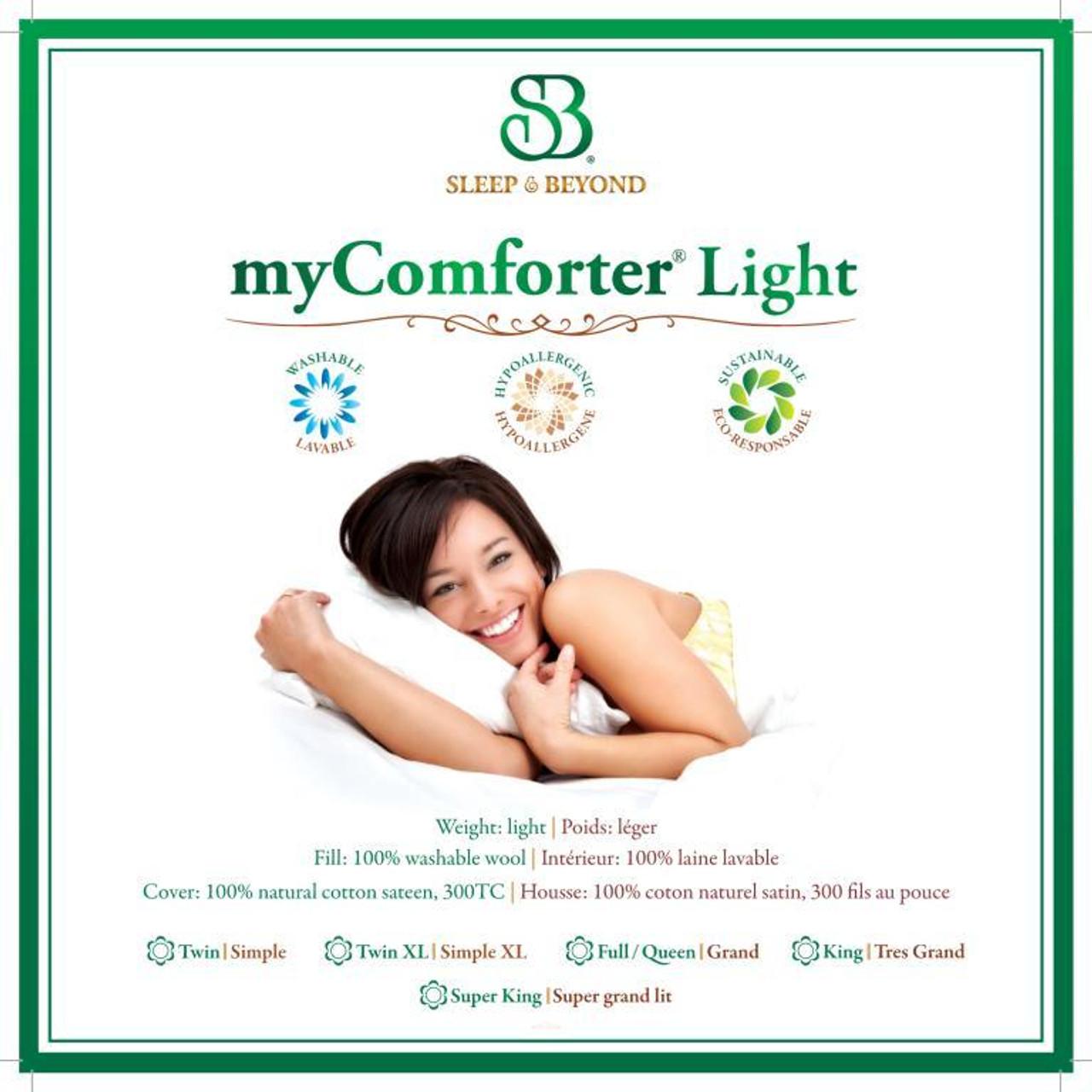 Sleep & Beyond myComforter Light 100% Washable Wool Comforter Front Package