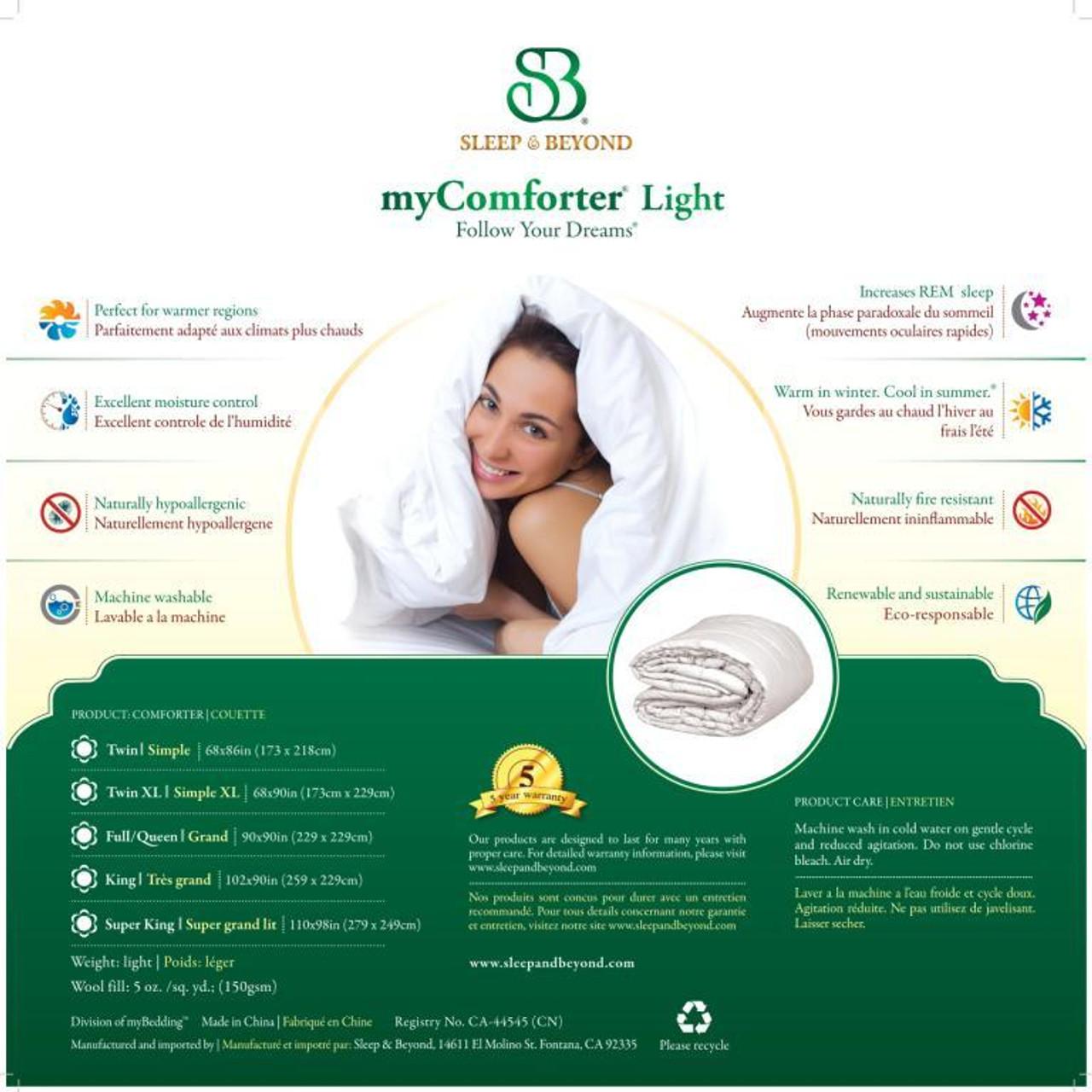 Sleep & Beyond myComforter Light 100% Washable Wool Comforter Package Detail