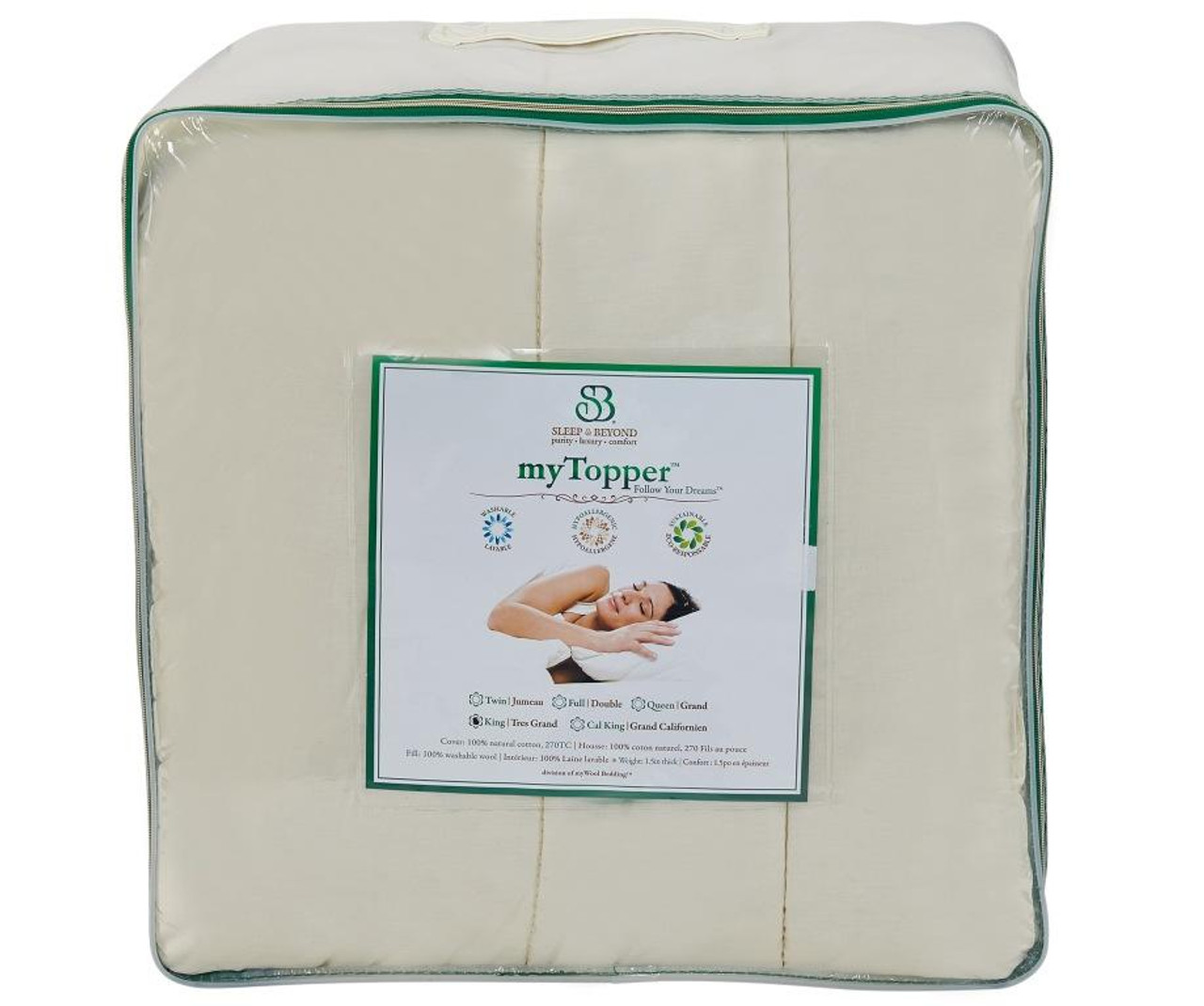 Sleep & Beyond myTopper™ 100% Washable Wool Mattress Topper Package Front
