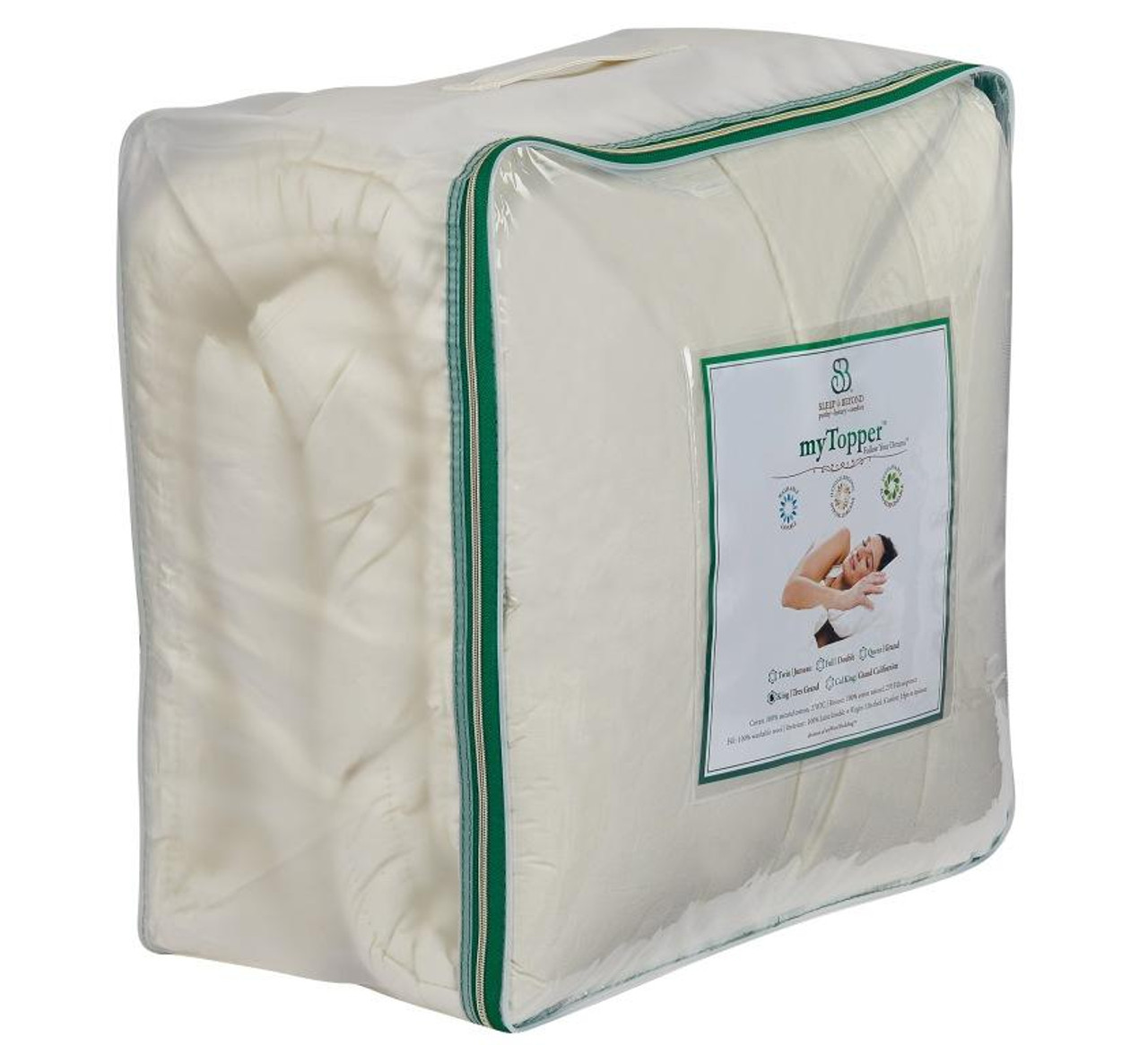 Sleep & Beyond myTopper™ 100% Washable Wool Mattress Topper Package Side