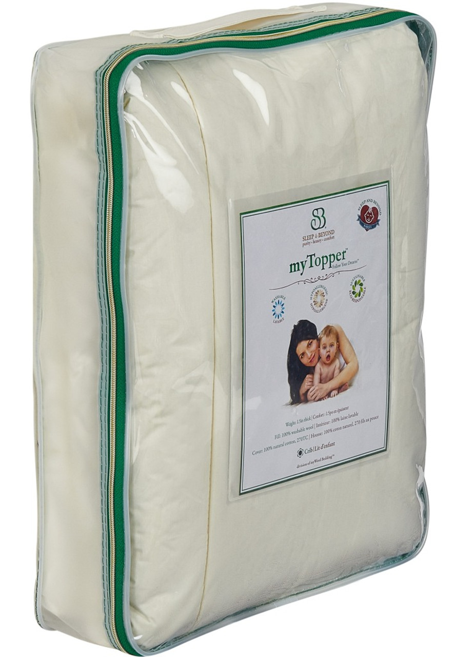 Sleep & Beyond myTopper™ 100% Washable Wool Mattress Topper Size Package