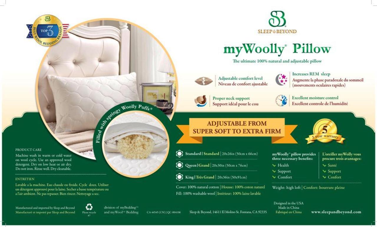 Sleep & Beyond myWool Pillow™ 100% Washable Wool Pillow Product Sheet