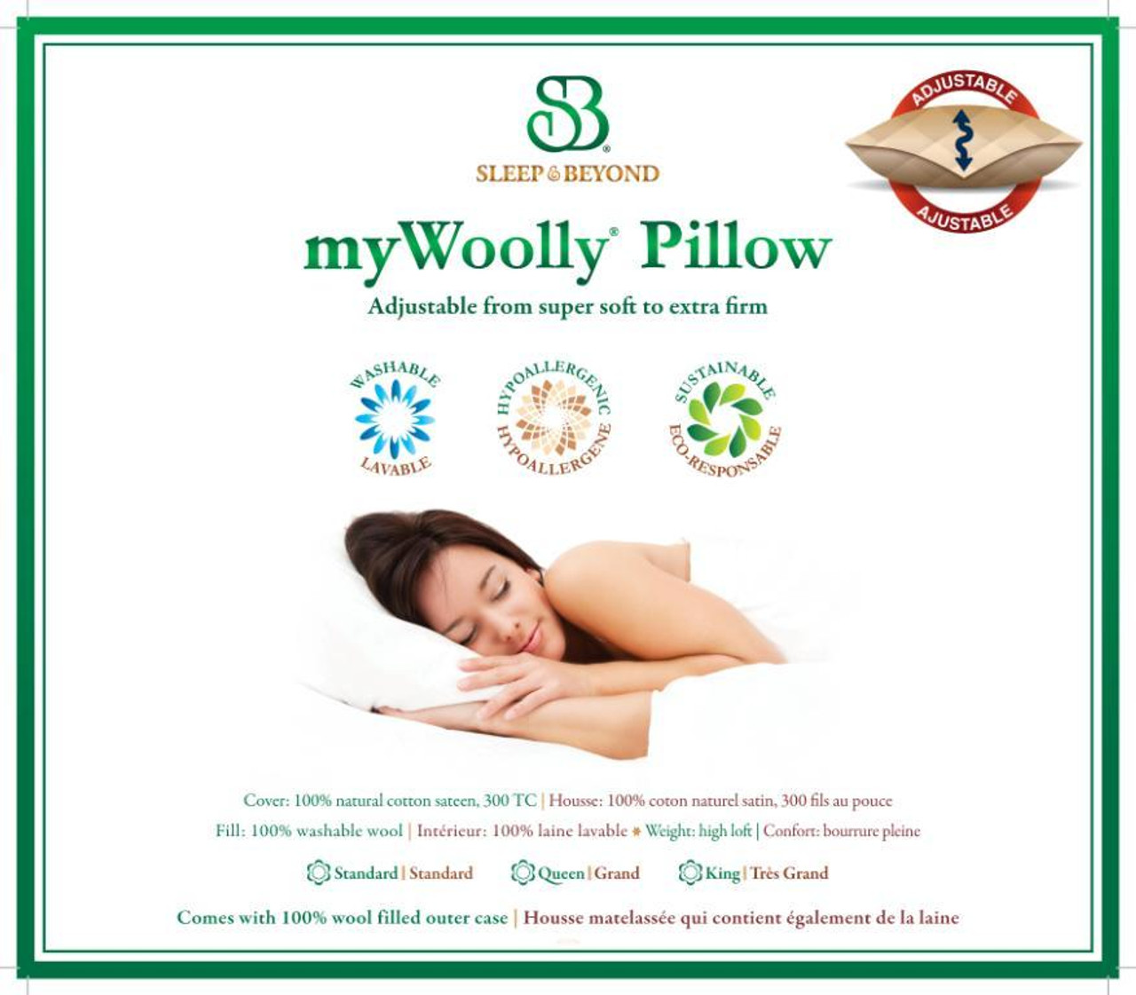 Sleep & Beyond myWool Pillow™ 100% Washable Wool Pillow Product Sheet 2