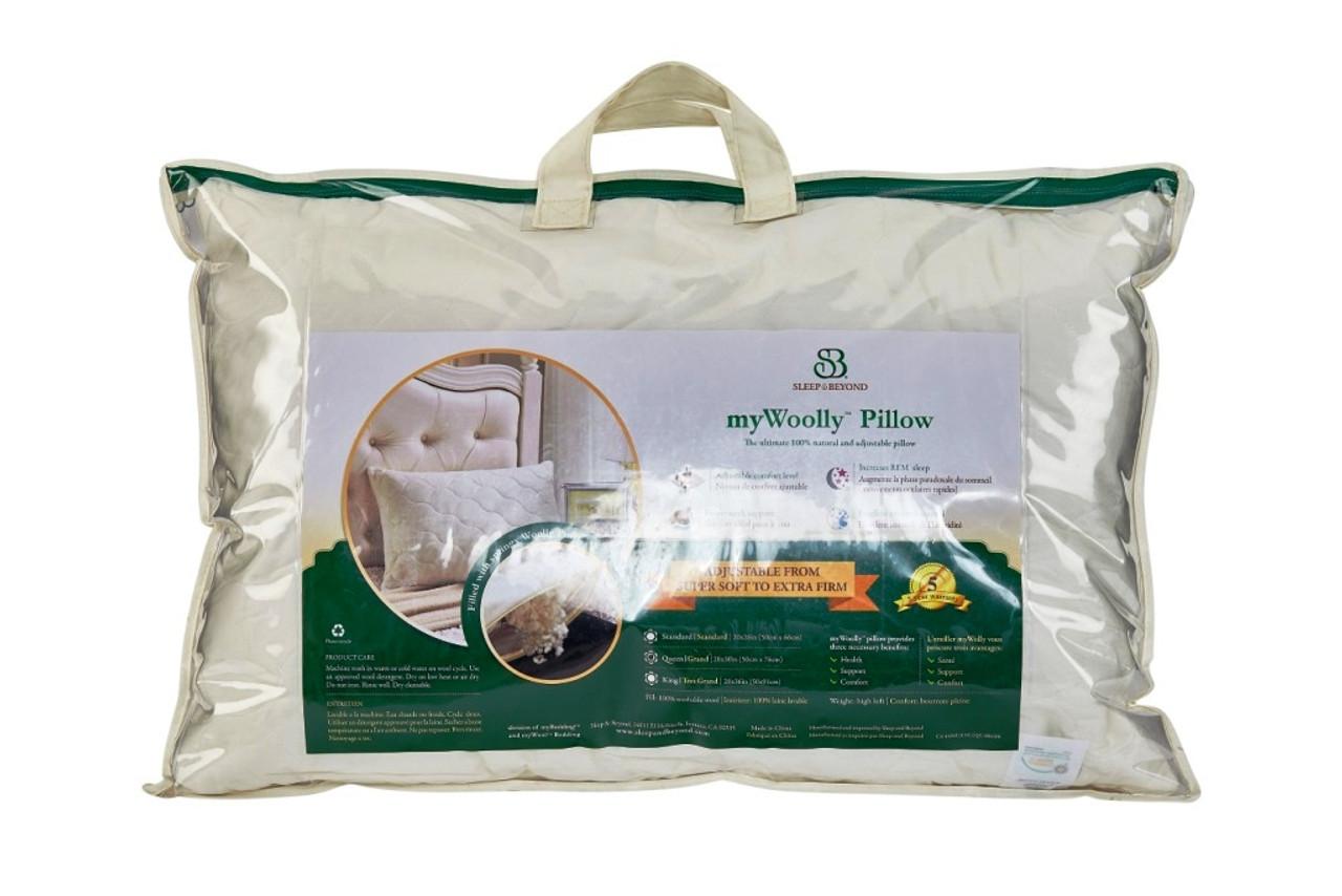 Sleep & Beyond myWool Pillow™ 100% Washable Wool Pillow Packaging