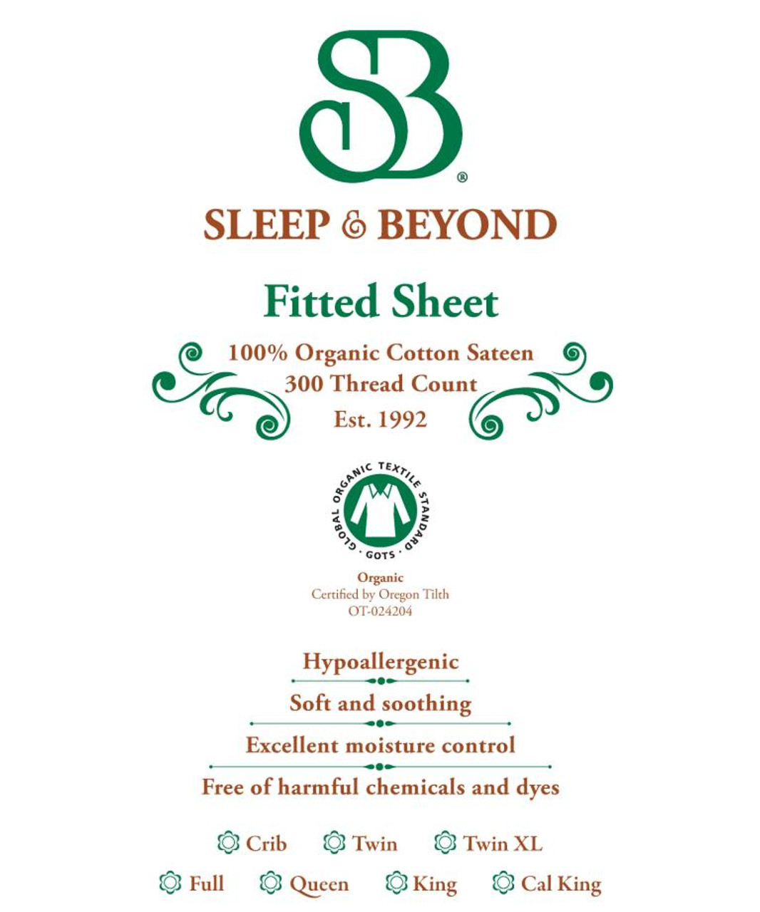 Sleep & Beyond 100% Organic Cotton Fitted Sheet Only Packaging Label