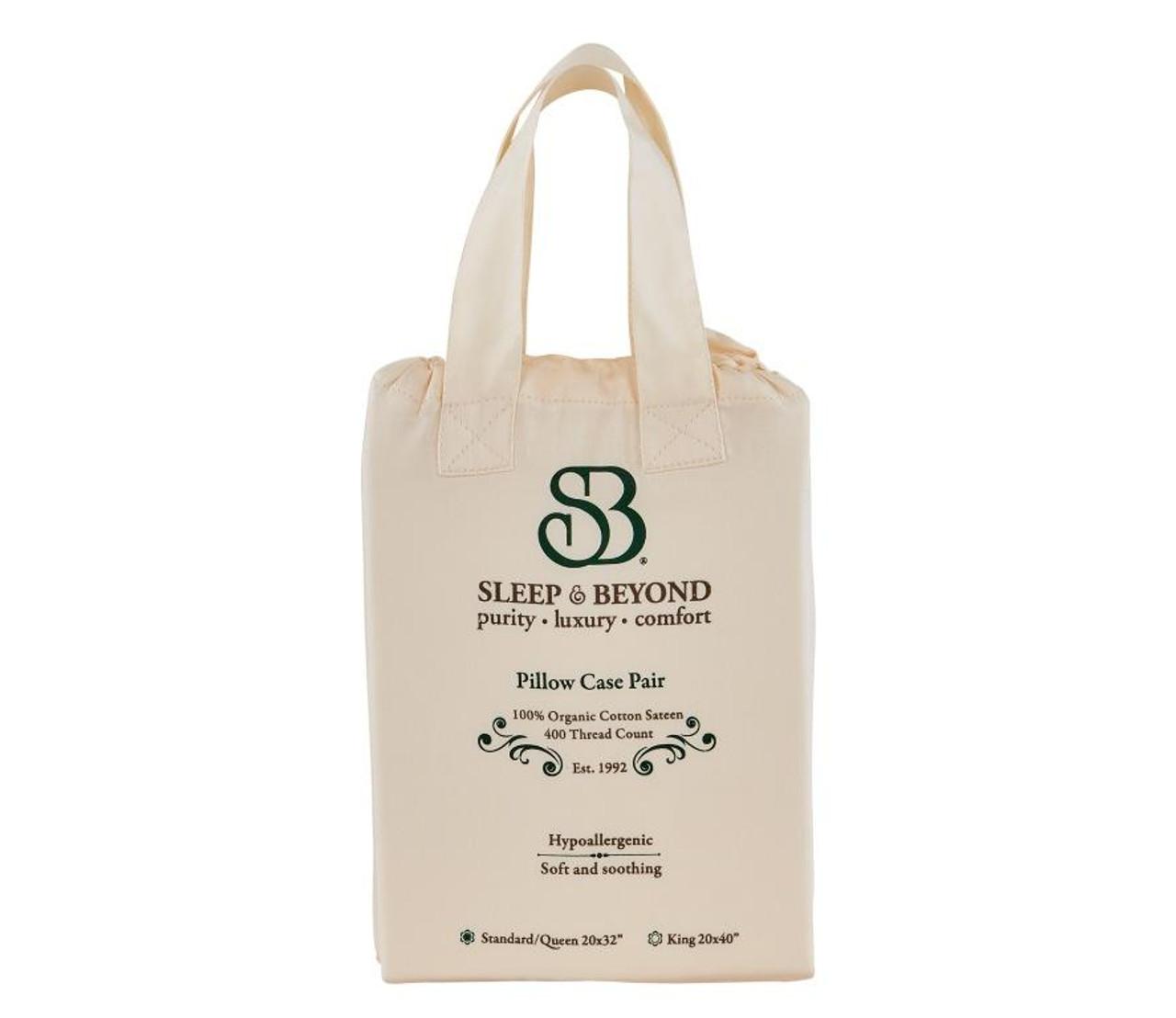 Sleep & Beyond 100% Organic Cotton Pillow Case Set, Standard/Queen Packaging Close Up