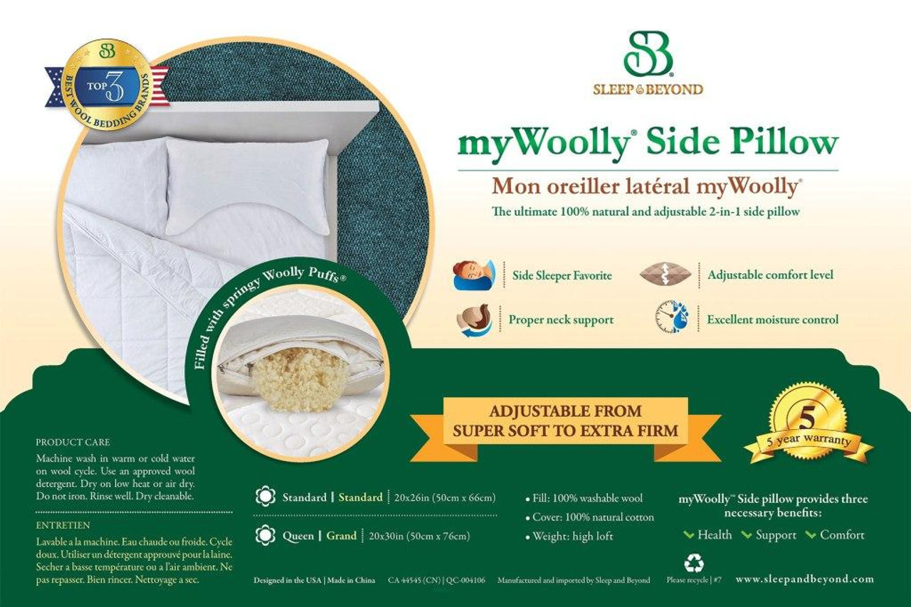 Sleep & Beyond myWoolly Side Pillow, 100% natural, adjustable and washable side wool pillow packaging detail