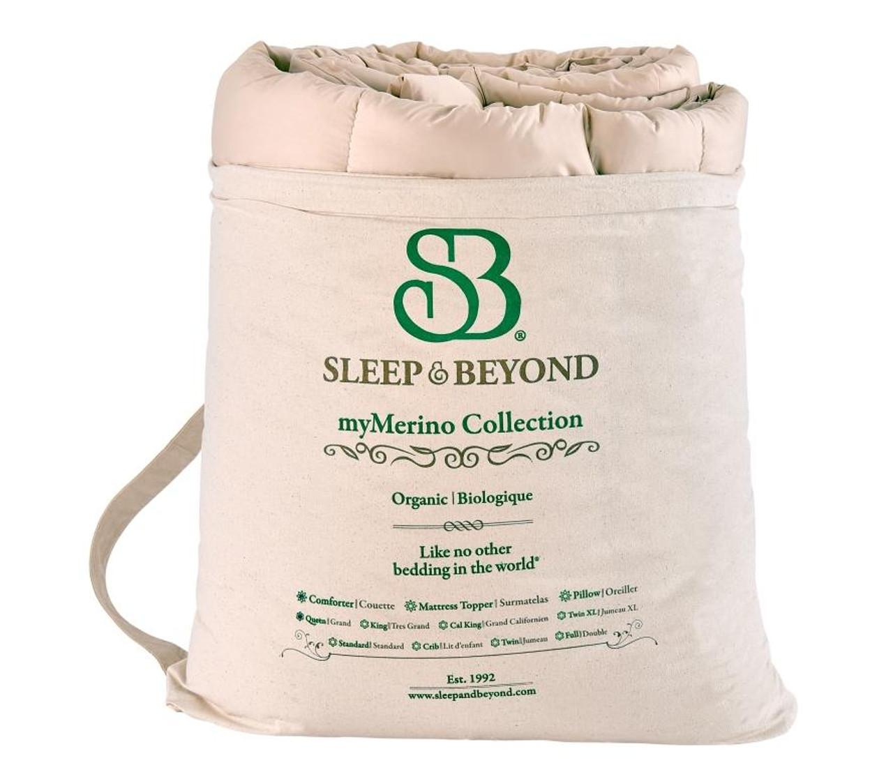 Sleep & Beyond myMerino™ Comforter, Organic Merino Wool Comforter Natural Bag