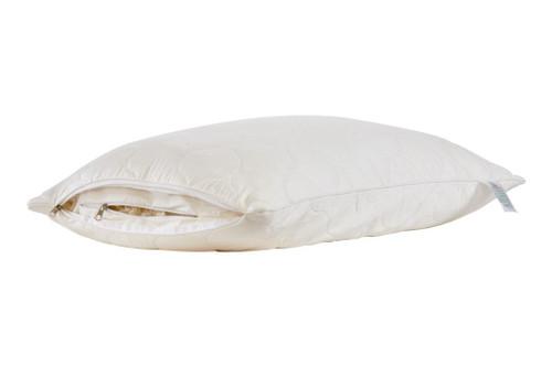Sleep & Beyond myWool Pillow™ 100% Washable Wool Pillow Product Sheet Half Way Open