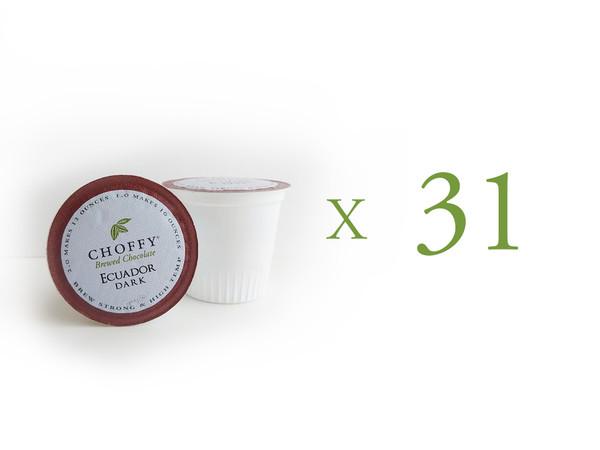 Choffy Brewed Cacao  - Ecuador Dark K.Cups 31 Ct (Bulk)  Complex, Robust & Chocolaty. Brews like coffee in a brewer.