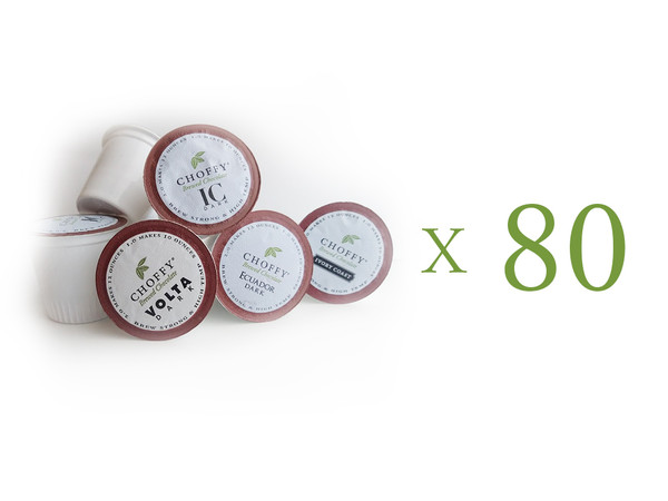 Choffy Brewed Cacao  - Variety K.Cup Set. Ultimate Saver Pack 80 ct. Try Them all! Cacao Nibs are healthy and tasty