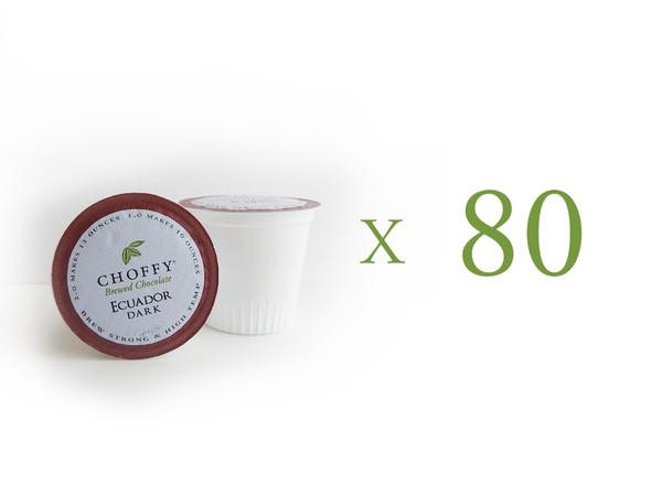 Choffy Brewed Cacao/ nibs- Ecuador Dark K.Cups 80 Ct  Complex, Robust & Chocolaty. Makes 10-12 oz in hot brewer.