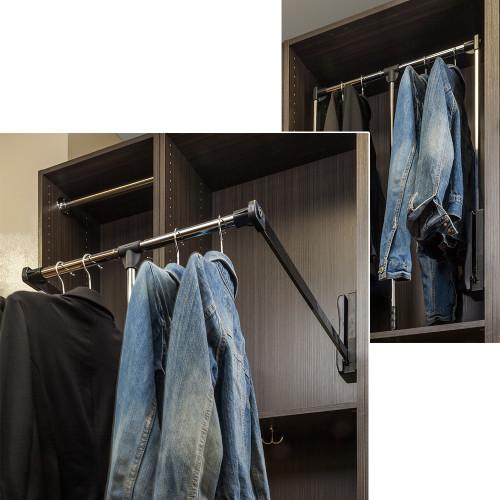 "Chrome and  Black 21"" - 24"" Expanding Wardrobe Lift"