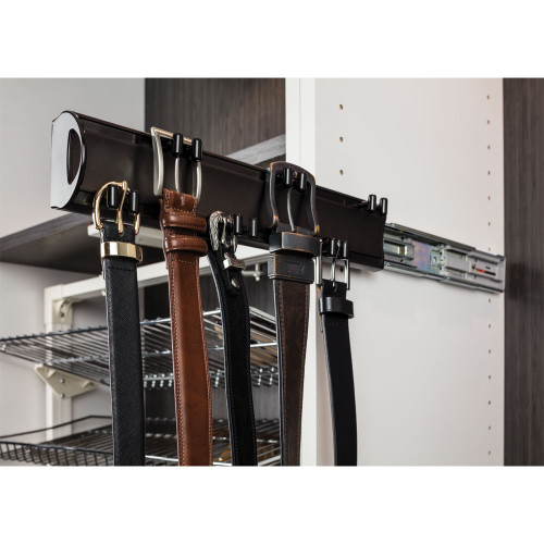 "Dark Bronze 14"" Belt Rack. 6 double hooks design to hold an"