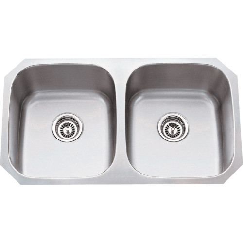Stainless Steel (16 Gauge) Kitchen Sink with Two Equal Bowls
