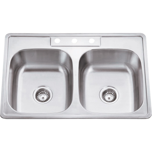Stainless Steel (20 Gauge) Drop In Kitchen Sink with Two Equ