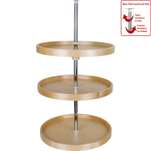 "UV Coated 18"" Round Banded Lazy Susan Set (3 shelves) with Twist and L"