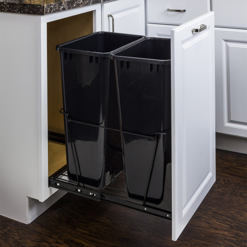 Black 50 Quart Double Pullout Waste Container System