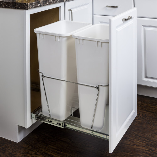 Polished Chrome 50 Quart Double Pullout Waste Container Syst