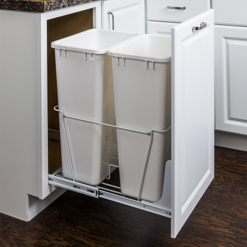 White 50 Quart Double Pullout Waste Container System