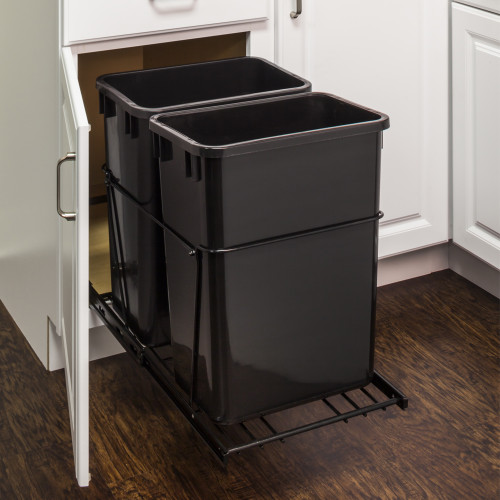 Black 35 Quart Double Pullout Waste Container System